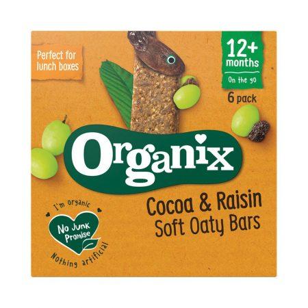 Organix Cocoa and Raisin Organic Soft Oaty Bars Multipack 12 Months+ 6x30g