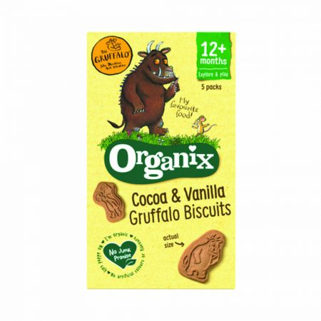 Organix Gruffalo Cocoa and Vanilla Organic Biscuits x 5 Bags 12months+